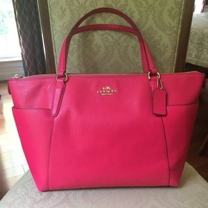 Coach Pink Pebble Leather Tote (style name: Ava)